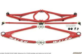 HONDA TRX450R FRONT ARMS, Motocross for LT-R450 spindles and metric tie rod kit (red)